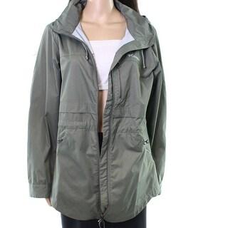 Columbia Green Women's Large L Hooded Full Zip Windbreaker Jacket
