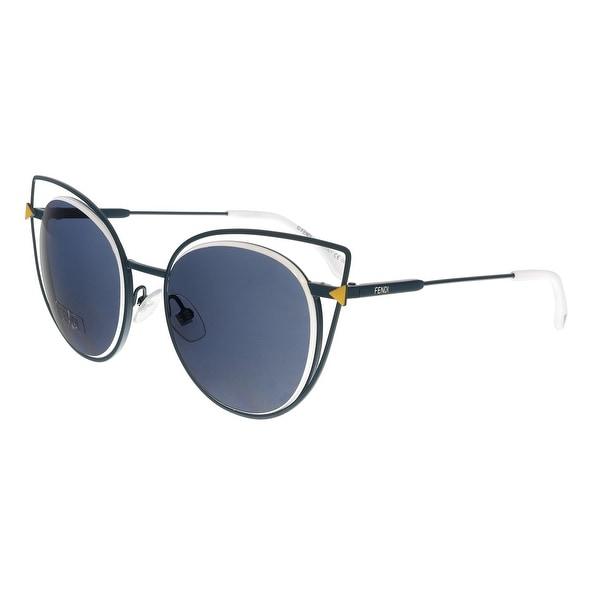 28e5c335b72d Shop FENDI 0176 S 0TLP- 72 Navy Blue Round Sunglasses - 53-19-140 ...
