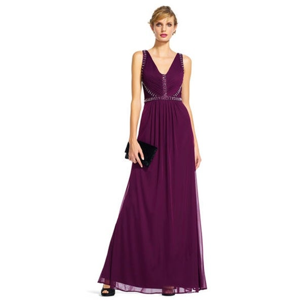 Adrianna Papell Draped Tulle Dress with Jeweled V-Neck Bodice. Opens flyout.