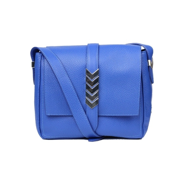 5292d03f Shop Versace Collection Solid Blue Grained Leather Arrow Shoulder ...