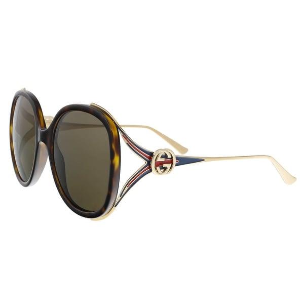 c12abb00a7df Shop GUCCI GG0226S 002 Havana/Gold Oversized Round Sunglasses - Free ...