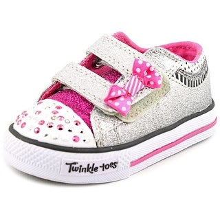 Twinkle Toes By Skechers S Lights-Shuffles-Bow Buddies Toddler Silver Sneakers