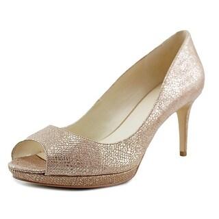 Nine West Gelabelle Women  Peep-Toe Synthetic Tan Heels