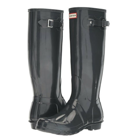 Hunter Women's Original Tall Gloss Rain Boots (Dark Slate/ Size 10)