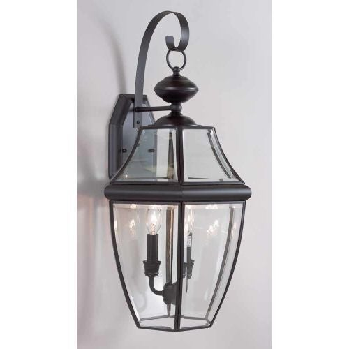 "Volume Lighting V9280 3 Light 24.75"" Height Outdoor Wall Sconce with Clear Bevel"