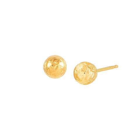 14K Gold 5 mm Crystal-Cut Ball Stud Earrings - Yellow