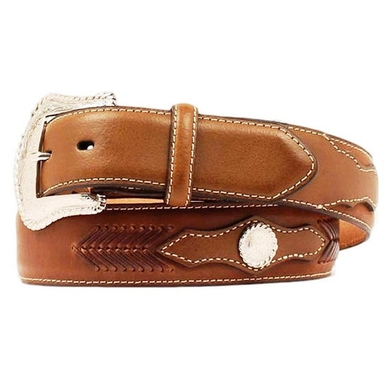 Nocona Western Belt Mens Leather Top Hand Laced Mocha
