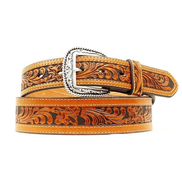 Ariat Western Belt Mens Floral Tooled Leather Logo Brown