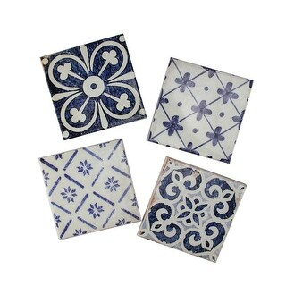 Pack of 4 Decorative Patterned Blue and Cream Ceramic Square Coasters 4