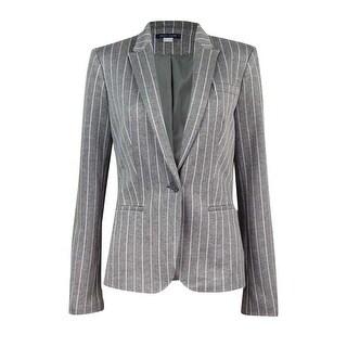 Tommy Hilfiger Women's Single Button Striped Blazer - Grey/Ivory