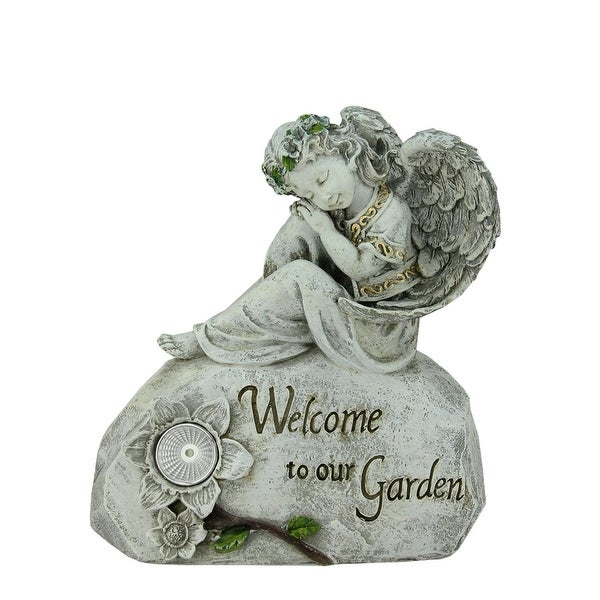 """10"""" Religious Peaceful Angel """"Welcome To Our Garden"""" Solar Powered Outdoor Patio Statue - multi-colored"""