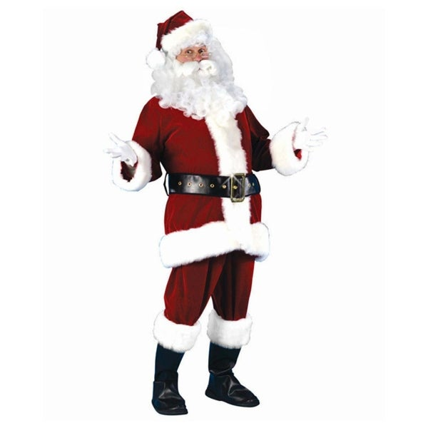 7-Piece Plush Velour Santa Claus Christmas Suit Costume - Adult Size Small - RED