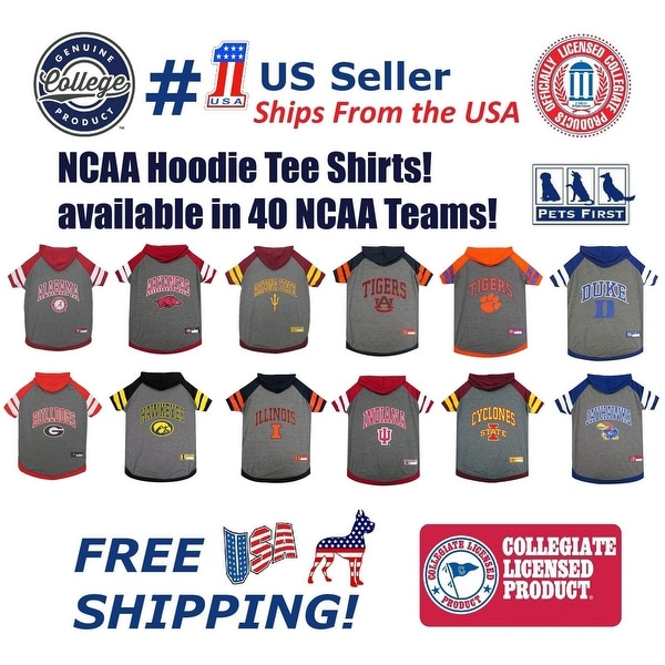 Shop NCAA HOODIE TEE for DOGS   CATS Licensed Football Basketball Hoody Tee  Shirt - On Sale - Free Shipping On Orders Over  45 - Overstock - 23033190 d7aa5533e