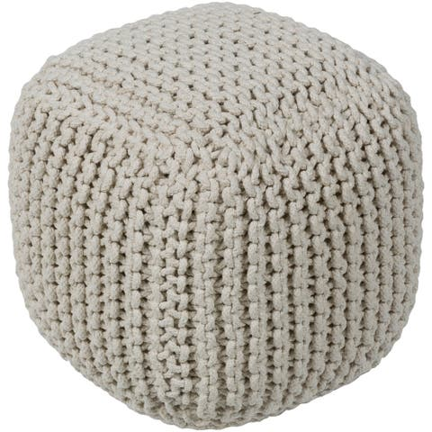 """Campeche Traditional Textured Cream 16"""" Pouf"""