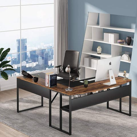L Shaped Office Desk with Storage Shelf and Splice Board