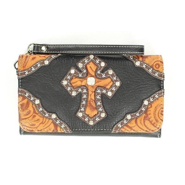 Nocona Western Wallet Womens Cross Tooled Black Brown - 7 1/2 x 4 1/2