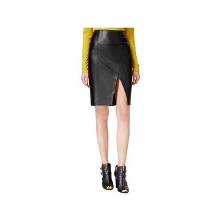 Guess Womens Jagger Pencil Skirt Faux Leather Front Slit