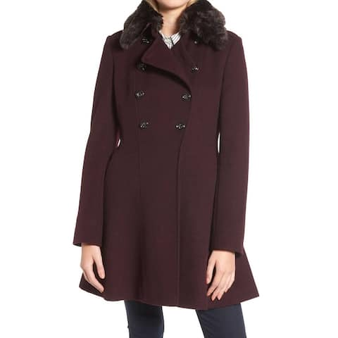 Via Spiga Women's Coat Deep Wine Red Size 6 Faux Fur Double Breasted
