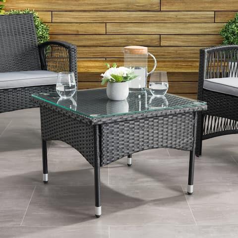 CorLiving Parksville Black Rattan Square Side Table