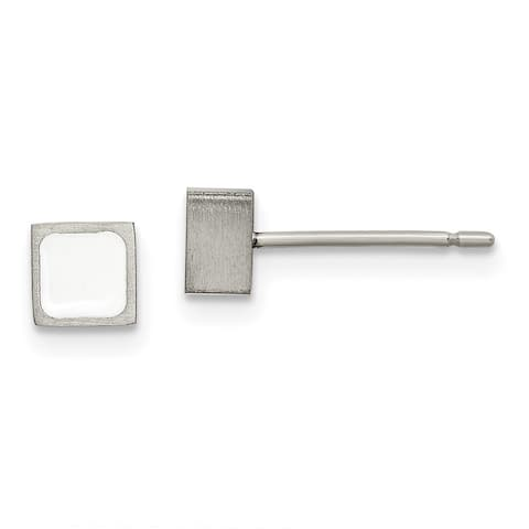 Chisel Titanium Brushed with White Enamel Square Post Earrings