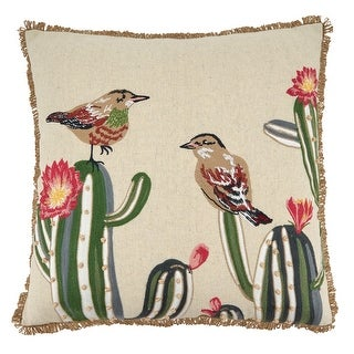 Link to Throw Pillow with Embroidered Cactus and Birds Design Similar Items in Decorative Accessories