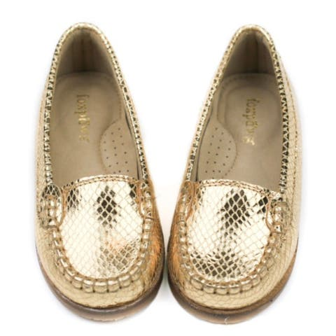 Foxpaws Shoes Girls Gold Ava Leather Loafers Shoes 11-3 Kids