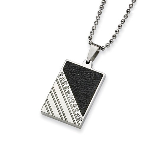 Chisel Stainless Steel and Stingray Patterned with CZ Necklace (2 mm) - 24 in