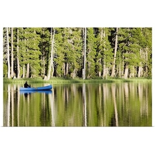 """""""Person in a boat on a lake"""" Poster Print"""