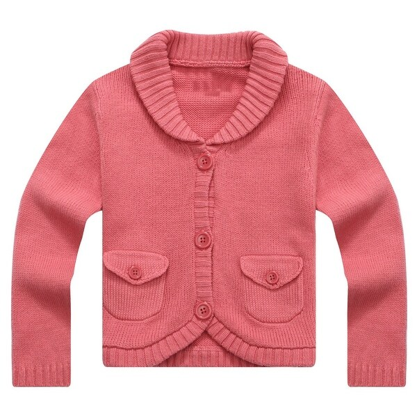 Richie House Baby Girls Magenta Lapel Collar Lovely Cardigan 12M