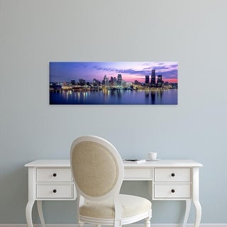 Easy Art Prints Panoramic Image 'Buildings at waterfront during dawn, Detroit, Wayne County, Michigan' Canvas Art