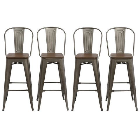 Antique Bronze/ Distressed Wood 30-inch Bar Stools