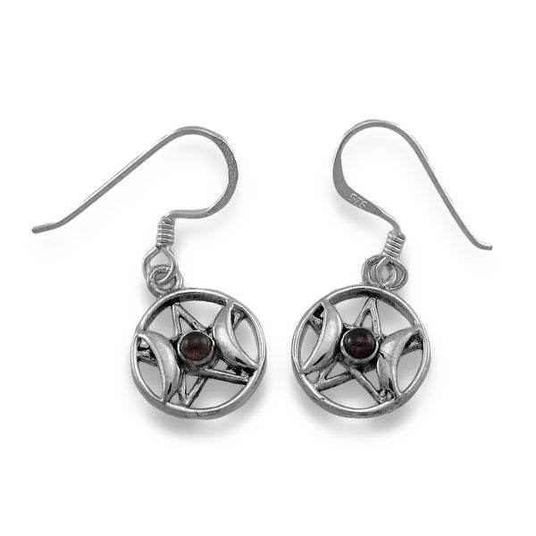 6e9dab928 Sterling Silver Triple Goddess Pentacle Dangle Earrings with Red Stones