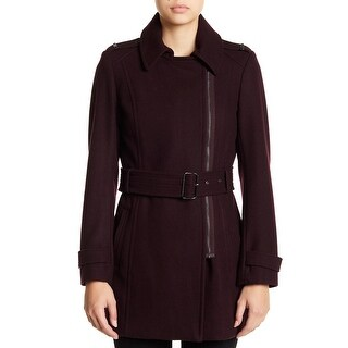 Kenneth Cole Reaction Asymmetrical-Zip Belted Trench Rum Raisin Extra Small
