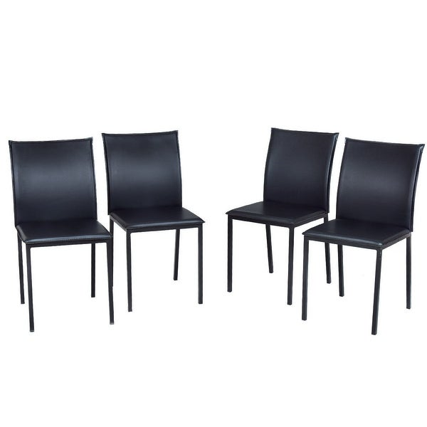 Costway Copper Set Of 4 Metal Wood Counter Stool Kitchen: Shop Costway Set Of 4 Dining Chairs PU Leather Armless