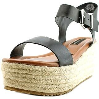 Steven Steve Madden Sabbie Women Open Toe Leather Black Wedge Sandal