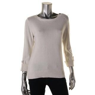 Karen Scott Womens Button Shoulder Knit Pullover Sweater