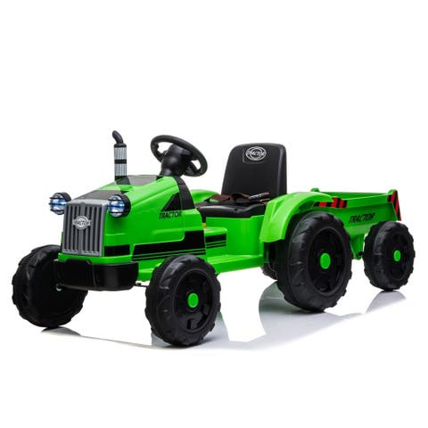 """Toy Tractor with Trailer,3-Gear-Shift Ground Loader Ride On - 7'6"""" x 9'6"""""""