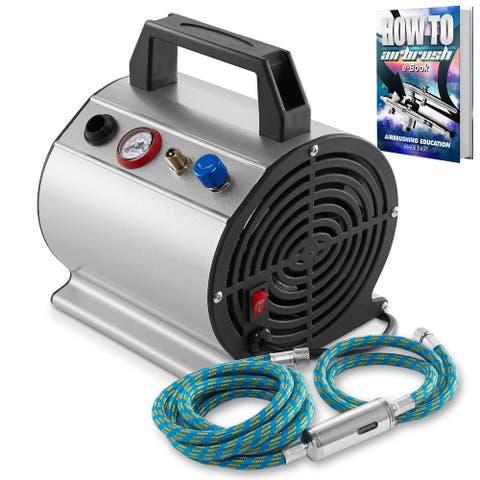 PointZero 1/6 HP Airbrush Compressor w/ Internal Tank and 6 Ft. Hose