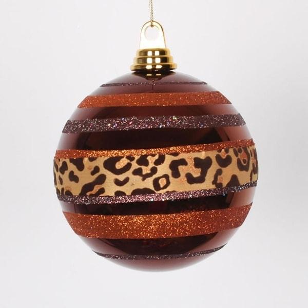 "Diva Safari Cheetah Print & Stripes Copper and Coffee Christmas Ball Ornament 5.5"" (140mm) - ORANGE"