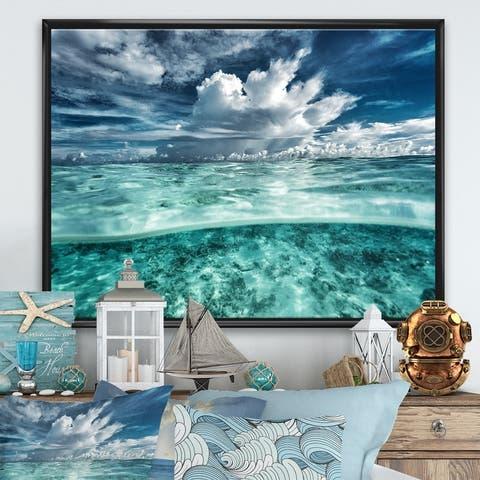 Designart 'Amazing Underwater Seascape And Clouds' Nautical & Coastal Framed Canvas Wall Art Print