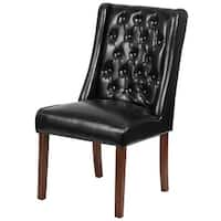 Delacora FF-QY-A91-LEA 21.5 Inch Wide Leather Accent Chair - Black - N/A