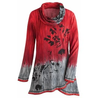 Women's Tunic Top - Red and Gray Sky Cowl Neck Long Sleeve Blouse|https://ak1.ostkcdn.com/images/products/is/images/direct/48a35d2f5184dff76e9a988cca487913d9ad2544/Women%27s-Tunic-Top---Red-And-Gray-Sky-Cowl-Neck-Long-Sleeve-Blouse.jpg?impolicy=medium
