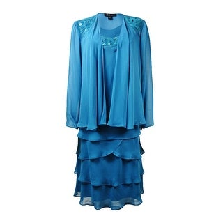 S.L. Fashions Women's 2PC Sequined Tiered Chiffon Dress Set
