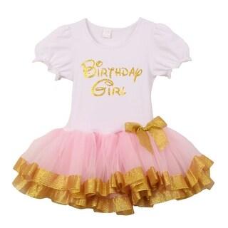 "Little Girls Pink Gold ""Birthday Girl"" Bow Attached Glitter Hem Tutu Dress 2T-6"