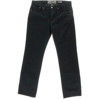 Kenneth Cole Reaction Mens Low-Rise Five-Pocket Straight Leg Jeans