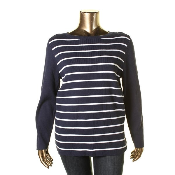 Karen Scott Womens Plus Pullover Sweater Striped Ribbed Knit