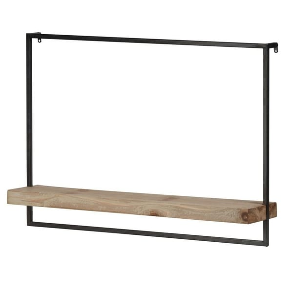 "30.5"" Brown and Black Contemporary Style Wall Shelf - N/A"