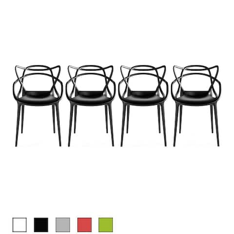 2xhome Set of 4 Modern Stacking Design Molded Chairs Dining with Arms Armchairs Living Room Kitchen