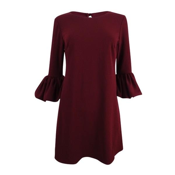Betsy & Adam Women's Petite Bell-Sleeve A-Line Dress - Burgundy. Opens flyout.