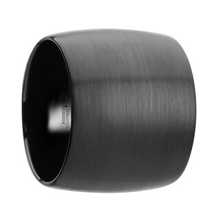 THORSTEN - AETHER Domed Black Tungsten Carbide Ring with Brushed Finish - 20 mm